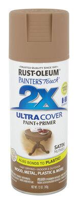 Rust-Oleum Painter's Touch Ultra Cover Nutmeg Satin 2x Paint+Primer Enamel Spray 12 oz.