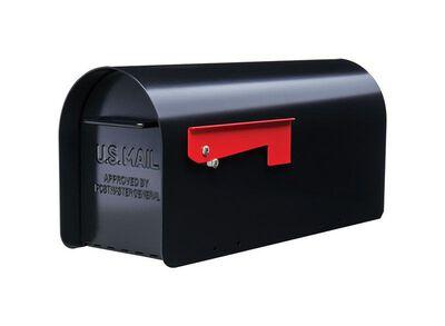 GIBRALTAR Sleek traditional Galvanized Steel Post Mounted Mailbox black 9.6 in. H x 20.3 in.