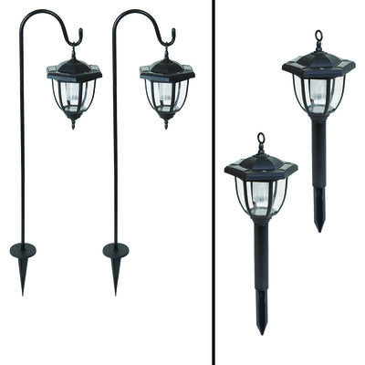 Living Accents Solar-Powered LED Dual Use Coach Style Light Black 2 pk