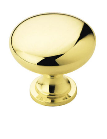 Amerock Allison Round Furniture Knob 1-1/4 in. Dia. 1-1/8 in. Polished Brass 1 pk