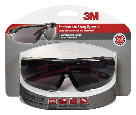 3M Performance Multi-Purpose Safety Glasses Antifog Gray Lens Black/Red Frame Blister Pack