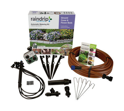Raindrip Drip Irrigation Garden Kit Includes Timer Covers 50 sq. ft.