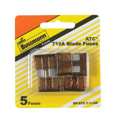 Bussmann 7.5 amps ATC Automotive Blade Fuse 5 pk
