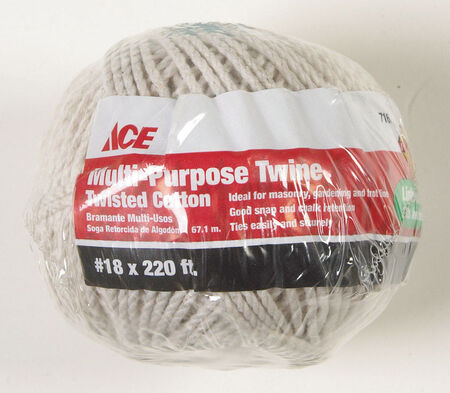 Ace 18 in. Dia. x 200 ft. L Twisted Cotton Twine White