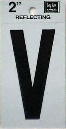 Hy-Ko Self-Adhesive Black Reflective Vinyl Letter V 2 in.