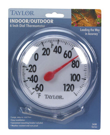 Taylor Dial Thermometer Indoor and Outdoor White 6 in.
