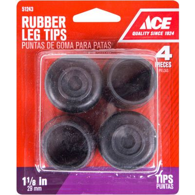 Ace Rubber Round Leg Tip Black 1-1/8 in. W 4 pk