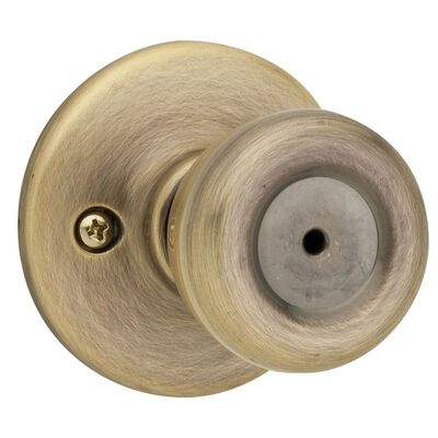 Kwikset Tylo Tylo Privacy Knob Antique Brass Steel 3 Grade Left or Right Handed