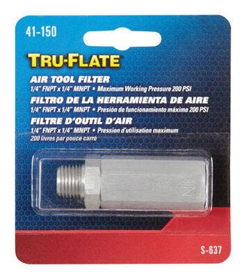 Tru-Flate Steel In-Line Air Tool Filter 1/4 in. FNPT x 1/4 in. MNPT in.