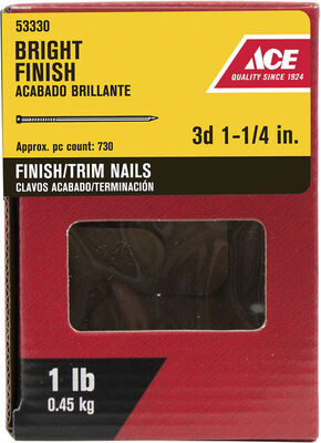 Ace Countersunk 1-1/4 in. L Finishing Nail Thin Bright Steel 1 lb.