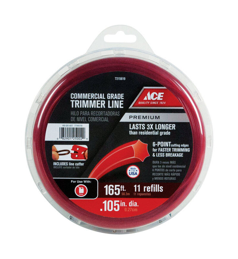 Ace Commercial Trimmer Line 0 105 in  Dia  x 165 ft  L 11 refill