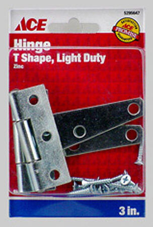 Ace Steel Light Duty T Hinge 3 in. L Zinc 2 pk