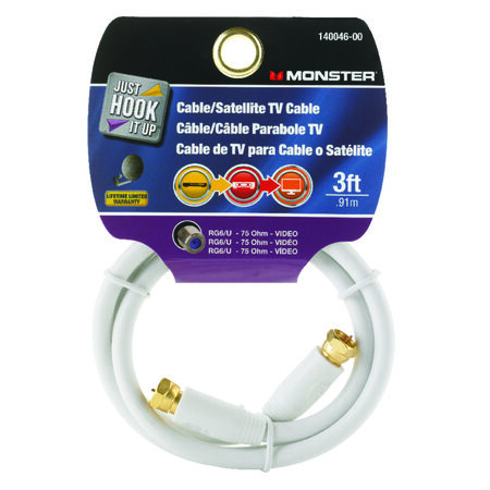 Monster Just Hook it Up 3 ft. L Video Coaxial Cable