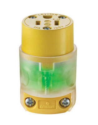Leviton Residential Vinyl Lighted Connector 5-15R 18-12 AWG 2 Pole 3 Wire Yellow
