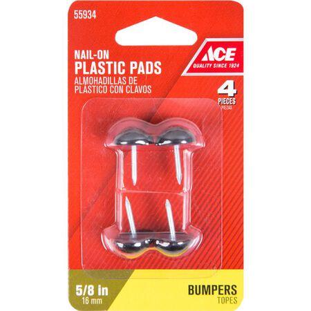 Ace Plastic Round Tack Bumper Black 5/8 in. W 4 pk
