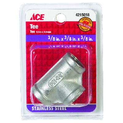 Smith-Cooper 3/8 in. Dia. x 3/8 in. Dia. x 3/8 in. Dia. FPT To FPT To FPT Stainless Steel Tee