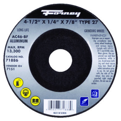 Forney 4-1/2 in. Dia. x 1/4 in. thick x 7/8 in. Metal Grinding Wheel