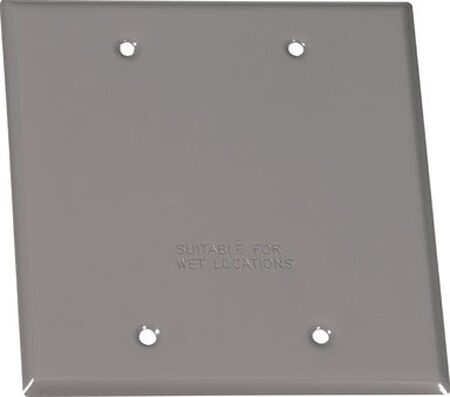 Sigma Square Steel 2 gang Blank Box Cover For Wet Locations Gray