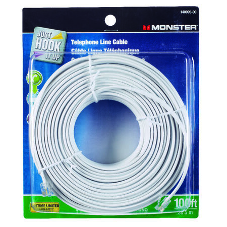 Monster Cable 100 ft. L White Telephone Line Cord
