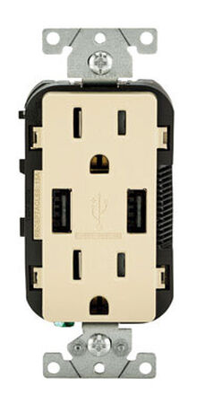 Leviton Decora Receptacle and USB Charger 15 amps 5-15 R 125 volts Ivory