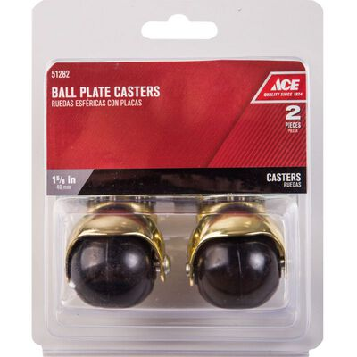 Ace 1-5/8 in. Dia. Swivel Bright Brass Hooded Ball Caster with Plate 75 lb. 2 pk