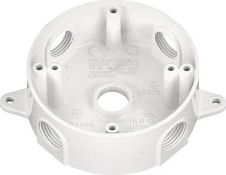 Sigma 2-5/16 in. H Round 5 Gang Outlet Box 1/2 in. White Aluminum
