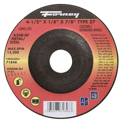 Forney 4-1/2 in. Dia. x 7/8 in. x 1/8 in. thick Metal Grinding Wheel