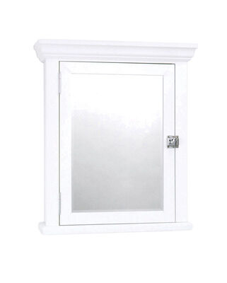 Zenith Metal Products White Rectangle Beveled Wood Cabinet