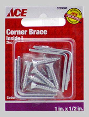 Ace Inside L Corner Brace 1 in. x 1/2 in. Zinc