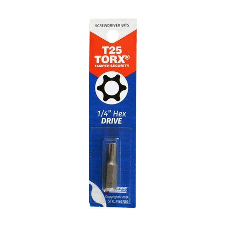 Best Way Tools T25 Torx Screwdriver Bit 1/4 in. Dia. x 1 in. L 1 pc.