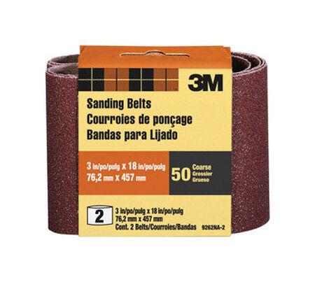 3M Sanding Belt 3 in. W x 18 in. L 50 Grit Coarse 2 pk
