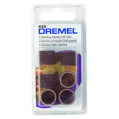 Dremel 0.5 in. Dia. x 0.1 in. Dia. 120 Grit Drum Sander Bands Aluminum Oxide