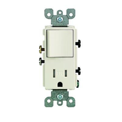 Leviton Decora Combination Tamper Resistant Switch/Outlet 15 amps 5-15R 125 volts Light Almond