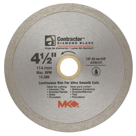 M.K. Diamond 4-1/2 in. Dia. Diamond Continuous Rim Circular Saw Blade For Tile and Marble