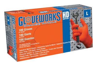 Gloveworks Nitrile Disposable Work Gloves Large 100 pk Orange
