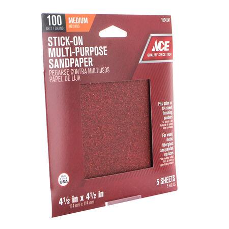 Ace 4.5 in. L x 4.5 in. W 100 Grit Aluminum Oxide Sandpaper 5 pk
