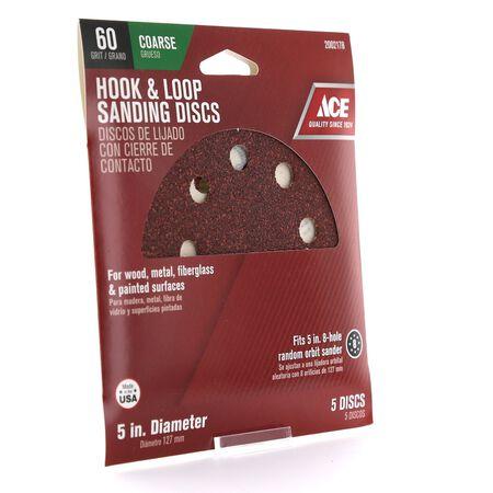 Ace 5 in. Dia. Sanding Disc 60 Grit Coarse Hook and Loop 5 pk