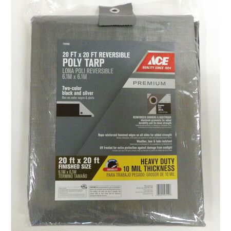 Ace Silver/Black Heavy Duty Tarp 20 ft. W x 20 ft. L