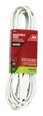Ace Indoor Extension Cord 16/2 SPT-2 12 ft. L White
