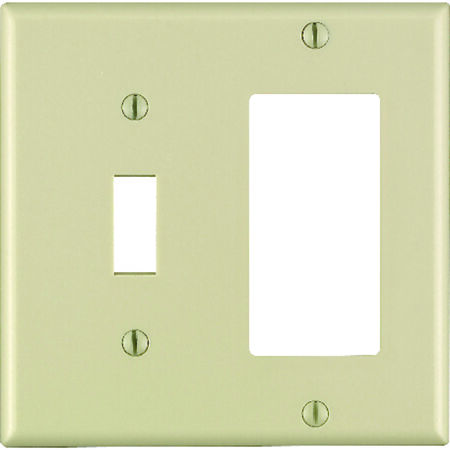 Leviton 2 gang Ivory Thermoset Plastic Toggle and Rocker/GFCI Wall Plate 1 pk