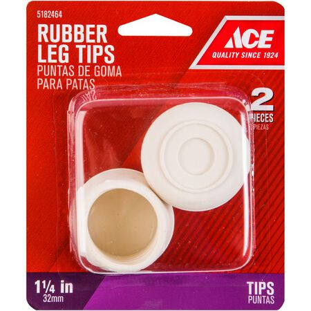 Ace Rubber Round Leg Tip Off-White 1-1/4 in. W 2 pk