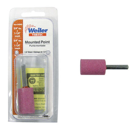 Weiler 3/4 in. Dia. x 0.25 in. Aluminum Oxide Cylinder Stem Mounted Point