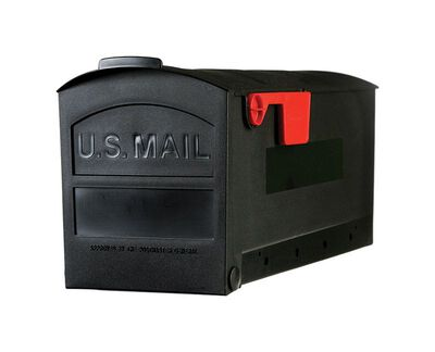 Solar Group Gibraltar Roughneck Polymer Post Mounted Mailbox Black 9-3/4 in. H x 20-3/8 in. L