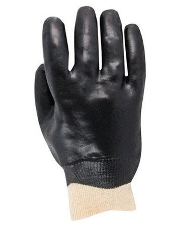 Handmaster Black Universal One Size Fits All Vinyl Coated Work Gloves