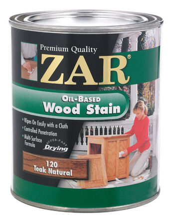ZAR Semi-Transparent Oil-Based Wood Stain Teak Natural Tintable 1 qt.