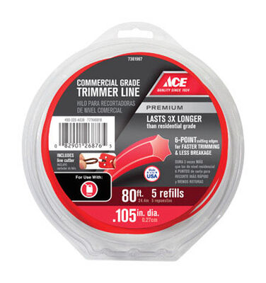 Ace Commercial Trimmer Line 0.105 in. Dia. x 80 ft. L 5 refill