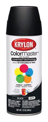 Krylon Black Satin Smooth and Durable Spray Paint 12 oz.