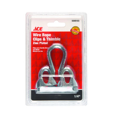 Ace 0.25 in. Dia. Galvanized Galvanized Steel Wire Rope Clips and Thimble 1 pk