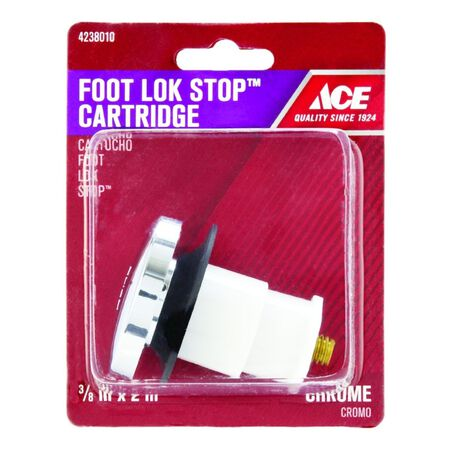 Ace 3/8 in. Dia. Foot Lok Stopper Plastic Chrome