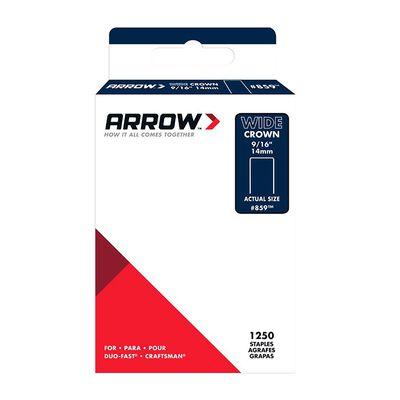 Arrow Fastener #859 Wide Crown Standard Staples Galvanized Steel 9/16 in. L 1250 pk